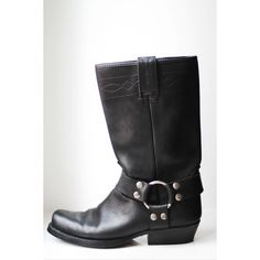 6.5/37 Black leather boots cow boy cow girl country by BoutiqueFMR