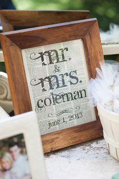 Inspiration pour décoration. Pourquoi pas un joli cadre dans lequel serait inscrit sur un joli papier: Émilie & Paul ainsi que la date du mariage ou bien une belle photo de famille.