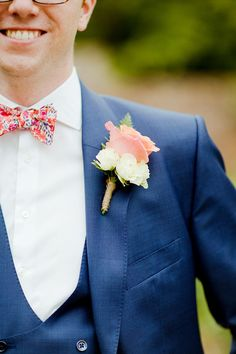 Liberty Print Bow Tie Groom Rose Buttonhole Homespun Fun Cricket Fete Games Wedding http://www.ireneyapweddings.com/