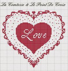 Lacomtesse&lepointdecroix: S. Cross Stitch Heart, Cross Stitch Kits, Counted Cross Stitch Patterns, Cross Stitch Designs, Cross Stitch Embroidery, Embroidery Patterns, Hand Embroidery, Wedding Cross Stitch Patterns, Cross Stitch Freebies