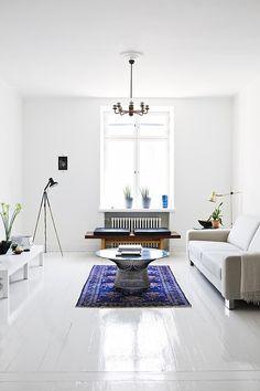 White floors. Photo by Mikko Ryhänen, via Emmas Designblogg.