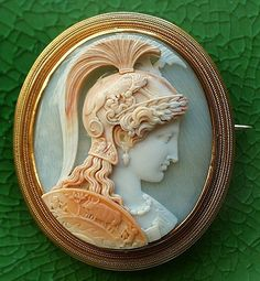 Athena.  Pommeraie Antiques - s353 - antique victorian vintage cameos, cameo brooch