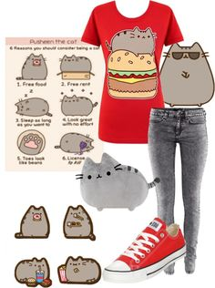 """""""Pusheen the Cat"""" by neonspirits ❤ liked on Polyvore"""