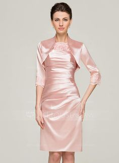 Sheath/Column Scoop Neck Knee-Length Charmeuse Lace Mother of the Bride Dress With Ruffle (008062565) - JJsHouse