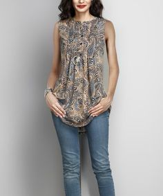 Another great find on #zulily! Brown Paisley Sleeveless Notch Neck Pin-Tuck Tunic #zulilyfinds