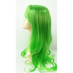 Long 26 Inch Straight Bright Green Wig Anime Cosplay Wig Straight With... ($50) ❤ liked on Polyvore featuring beauty products, haircare, hair styling tools, bath & beauty, black, hair care and wigs