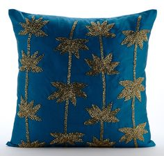 Decorative Throw Pillow Covers Accent Pillow Couch Toss Sofa Pillow 24x24 Teal Blue Taffeta Pillow Cover Bead Embroidered Gold Lotus Dreams by TheHomeCentric on Etsy