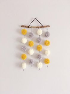 Pom Pom Hanging, Small Driftwood Garland, Nursery Decor, CUSTOM A sweet handmade Pom Pom hanging. Made to order and available in a variety of colours and styles. Yarn Crafts, Crafts To Sell, Diy And Crafts, Crafts For Kids, Arts And Crafts, Preschool Crafts, Garland Nursery, Nursery Decor, Pom Pom Garland