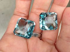 blue aquamarine one pairs drilled 20x15mm by vlvp on Etsy, $44.75