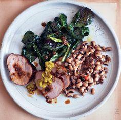 Redeye-Glazed Pork Tenderloin with Black-Eyed Peas Recipe | Epicurious.com (serve with sautéed mustard greens with garlic - see recipe)