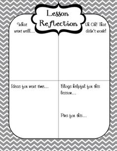 Lesson reflection freebie by www.firstgradeglitterandgiggles.blogspot.com