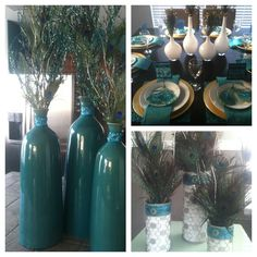 @Jessica Peters   Peacock Decor and - bottle of all shapes/sizes, paint insides with peacock colors?