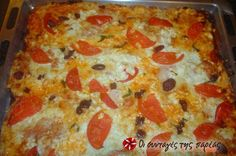 pizza so šunkou a šampiónmi Greek Recipes, New Recipes, Cookie Dough Pie, Calzone, Pizza Hut, Hawaiian Pizza, Pepperoni, Lasagna, Pizza