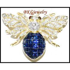 http://rubies.work/0890-sapphire-pendant/ 18K Yellow Gold Blue Sapphire Bee Brooch/Pin Diamond Jewelry