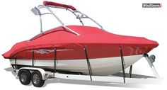 WindStorm Semi-Custom Boat Covers are the most durable fully-trailerable covers on the market.  These semi-custom covers are constructed of solution-dyed marine grade fabric and are available in 12 bold colors.  Exclusive MicroPore technology makes WindStorm the fastest drying cover on the market and promotes mildew resistance.  All WindStorm covers are backed by a 5-year warranty and come with a FREE matching motor cover and heavy-duty strap set.
