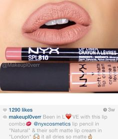 "NYX lip pencil in ""Natural"" & NYX soft matte lip cream in ""London"". Nyx Eyeshadow, Nyx Lipstick, Nyx Makeup, Makeup To Buy, Beauty Makeup, Nyx Lip Matte, Satin Lipstick, Matte Lipsticks, Eyeshadow Palette"