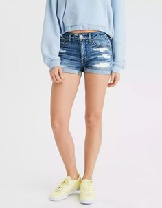Ne(x)t Level Stretch/Our softest, stretchiest, never-loses-its-shape denim/Super soft, super comfortable, breathable denim/Won't bag out. Casual Party Outfits Men, Short Outfits, Simple Outfits, High Waisted Shorts, Denim Shorts, Waisted Denim, Ae Jeans, Ripped Jeans, Semi Casual Dresses