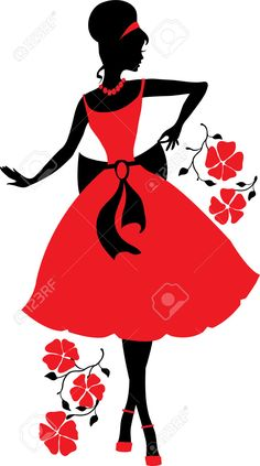 Silhouette Images, Stock Photos & Vectors - Silhouettes ESZAdesign - Silhouette Images, Stock Photos & Vectors ESZAdesign (Svetlana Zdanchuk) Retro woman red and black silhouette with flowers - stock vector Silhouette Images, Black Silhouette, Woman Silhouette, Silhouette Photo, Princess Silhouette, Fabric Painting, Retro, African Art, Rock Art