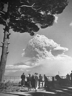 Vesuvius eruption in 1944. This was the next eruption after the infamous one in 79 A.D. The volcano is still live, scientists are certain it will erupt again. There are now a half Million people living near it in Pompeii Italy.
