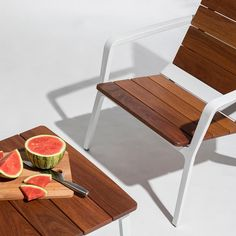 Presenting a fresh interpretation of the classic Adirondack design, Vaya chairs, benches and tables offer a modern take on taking a break. Outdoor Lounge Furniture, Outdoor Chairs, Outdoor Decor, Lounge Chair Design, Rest And Relaxation, Food Court, Industrial Furniture, Benches, Furniture Ideas