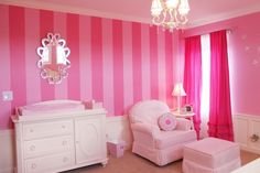 i want my walls like this!! find out the color names: The paint colors are from Benjamin Moore- Blushing Bride and Pink Carnation.
