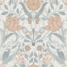 An ornate floral print with a Scandinavian flair, this beautiful wallpaper features an array of tulips and leaves. Off-white, light pink, cream and grey hues perfectly complement its painterly design. Tulipa is an unpasted, non woven wallpaper. Plant Wallpaper, Star Wallpaper, Embossed Wallpaper, Wallpaper Samples, Wall Wallpaper, Large Print Wallpaper, Damask Wallpaper, Blue Floral Wallpaper, Botanical Wallpaper
