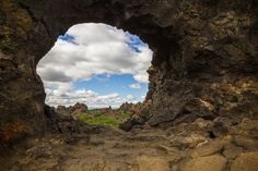Mývatn area - Dimmuborgir / Dimmuborgir is a large area of unusually shaped lava fields east of Mývatn in Iceland. The Dimmuborgir area is composed of various volcanic caves and rock formations, reminiscent of an ancient collapsed citadel.