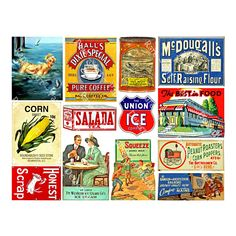 Union Ice Company Clip Art Ephemera Vintage Advertising Farm Fresh Eggs General Store Signs Antique Art Paper Collage 2a Printed Sheet