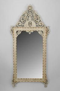 Syrian mirror with inlaid mother of pearl, ebony and bone