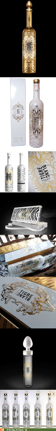 Tigre Blanc Luxury Vodka (Classic and Extra Editions) bottles and packaging.