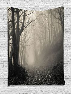 Ambesonne Gothic Decor Collection, Path on the Gothic Forest Trees Foggy Mysterious Nature Monochrome Art, Bedroom Living Room Dorm Wall Hanging Tapestry, Cloudy Gray
