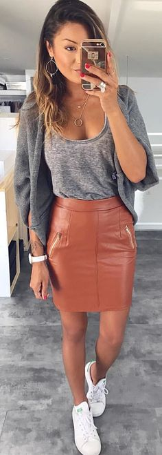 #winter #outfits gray scoop-neck top and red leather skirt