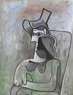"""Pablo Picasso's """"Femme assise au chapeau"""" from 1961 at New York's Acquavella Galleries that sold in the region of the $8 million asking prices to a European collector at Frieze masters."""