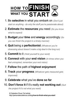 How To Finish What You Start [Manifesto] with accompanying article by Celestine Chua. (Printable)