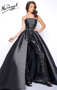 Mac Duggal Prom Nontraditional satin strapless prom dress featuring  straight leg sequined pants and ball gown overskirt. Available in black or  ivory. 0d019c5b6b93