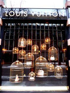 Louis Vuitton birdcage window display.