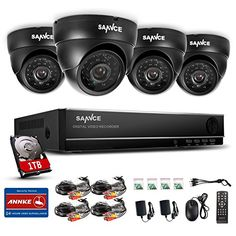 Sannce Security Camera System with 8CH 960H CCTV DVR and 4 *900TVL Weatherproof Super Night Vision Indoor & Outdoor Surveillance Camera, (1TB Hard Drive Included,P2P & QR Code Scan Remote Access)