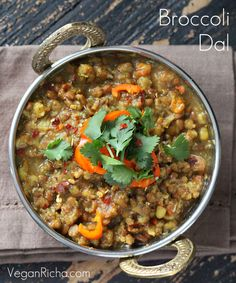 Broccoli Dal. Mung Bean and Brown Lentil Stew with Broccoli
