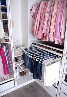 Helpful Closet Organization Tips Featuring The IKEA Pax Wardrobe Helpful Closet Organization Tips Featuring The IKEA Pax Wardrobe Ikea Pax Wardrobe, Wardrobe Room, Wardrobe Closet, Pax Closet, Sliding Wardrobe, Wardrobe Organisation, Kids Room Organization, Organizing Ideas, Walk In Closet Ikea