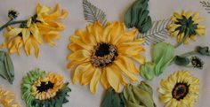 sunflowers, silk ribbon, USA, Lithuania, Germany, Chess, Poland, Spane, designs by Tatiana Popova, ribbon embroidery kits, buy online, craft, art, hand-made, presents, natural silk, embroidery kit, exclusive presents, ribbon embroidery patterns, embroidered boxes, craft box
