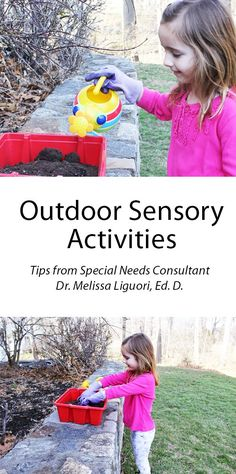 Outdoor sensory activities for Children - Tips from Melissa & Doug's special needs consultant Dr. Melissa Liguori, Ed. D *Great article and tips! Free Activities For Kids, Motor Activities, Sensory Activities, Sensory Play, Sensory Bins, Outdoor Learning Spaces, Outdoor Education, Play To Learn, Special Needs