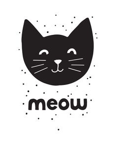 Printable Art, Meow, Black Cat Art, Illustration, Nursery Art, Cat Lovers, Children's Art, Art Printable, Home Decor, Digital Download Print