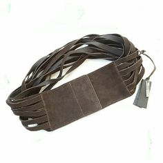 "Riccardo Forconi Wide Suede Belt Wide suede belt in rich brown with multiple crossed straps and velcro closure. Can be worn with multiple straps in front or back. Italian size 75. Length 31"" (can adjust slightly smallet), width 3.5"" at velcro closure. Made in Italy. Riccardo Forconi  Accessories Belts"