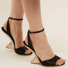 1daf1b26636b6 Arsina sculptural-heel satin wedge sandals Salvatore Ferragamo, Wedge  Sandals, Marc Jacobs,