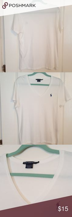 """Ralph Lauren v-neck """"white"""" tee NEVER WORN, tags removed. Excellent condition. Vibrant """"snow white"""" colored 100% pima cotton V-Neck tee. No rips, stains, snags or holes. Very comfy and flattering. Ralph Lauren Tops Tees - Short Sleeve"""