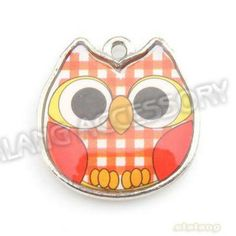 5.60 euro incl shipping On Sale 60pcs/lot Owl Animal Charms with Orange Enamel Zinc Alloy Pendant Rhodium Plated Fit European Jewelry Making 143455