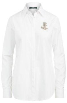 Ralph Lauren Rhinestone Crest Poplin Shirt White Xl