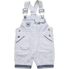 Jardineira Bebê Masculina em Sarja Branca - Sonho Mágico :: 764 Kids   Roupa bebê e infantil