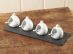 Set of four 2' Porcelain Spice Cellars with Slate Tray