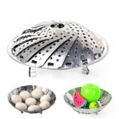 High Quality creative  Stainless More Flexible Steaming Rack Loading Basin Fruits Basin Kitchen tools Home Furnishing
